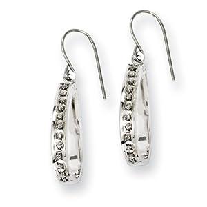 IceCarats Designer Jewelry Sterling Silver Diamond Mystique Teardrop Dangle Earrings