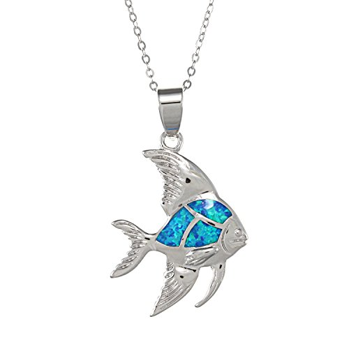 Sterling Silver Created Blue Opal Fish Pendant with 18