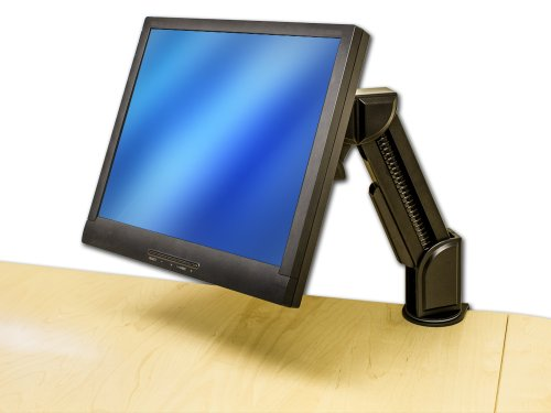 Navepoint Adjustable Single Arm Lcd Monitor Stand Desk Mount C-Clamp For 1 Screen Up To 24-Inches