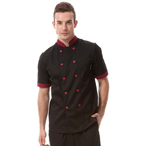 Chef coat black with red uniforms short sleeve chef jacket unisex (Chef Jacket For Men Short Sleeves compare prices)