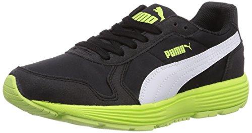 puma-future-st-runner-jr-sneakers-basses-mixte-enfant-noir-schwarz-black-white-sharp-green-04-39-eu