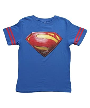 Superman Logo with Striped Sleeves Boys Royal Blue T-Shirt (Boys 7)