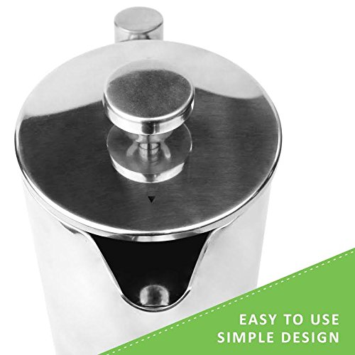 French Press Coffee Maker How To Clean : LINKYO French Press Coffee Maker - Easy Clean Stainless Steel Coffee Press, 34 ounce (1 Liter ...