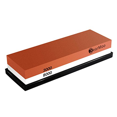 BearMoo Whetstone 2-IN-1 Sharpening Stone 3000/8000 Grit Whaterstone, Rubber Stone Holder Includedd (Razor Edge Sharpening Stone compare prices)