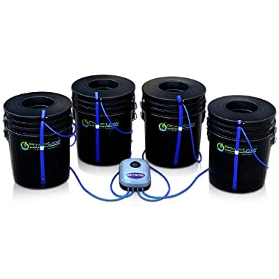 "Deep Water Culture (DWC) Hydroponic Bubbler Bucket Kit by PowerGrow ® Systems (4) 5 Gallon - 6"" Buckets"