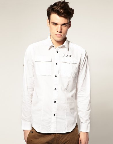 G-Star Raw Mens Cruz Dress Shirt L/S White Medium