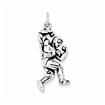 Sterling Silver Antiqued Body Building Charm, Best Quality Free Gift Box Satisfaction Guaranteed