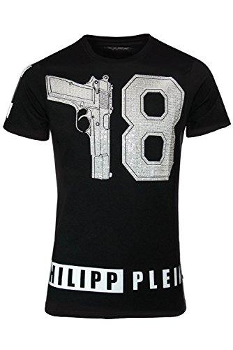 """Philipp Plein Schwarz """"78 The Hotel"""" T-Shirt Shirt Designer Shirt Bedruckt Für Herren und Männer Tailiert Slim Fit Slim Fit Rundhals mit Print und Applikationen (XL) thumbnail"""