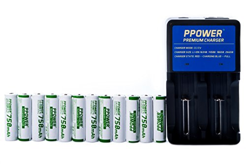 12 Paquets pPOWER 14500 rVS mAh 3,7 v li-ion-pPOWER premium-chargeur de batterie