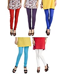 Rupa Softline Multi-Color Cotton Leggings Combo (Pack Of 5)
