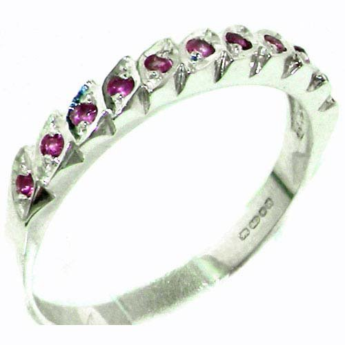 Genuine Solid Sterling Silver Vibrant Natural Ruby Eternity Ring - Size 11.25 - Finger Sizes 4 to 12 Available - Suitable as an Anniversary ring, Engagement ring, Eternity Ring, or Promise ring