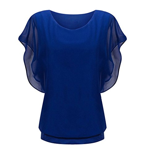 peggynco-womens-blue-loose-casual-short-sleeve-chiffon-top-t-shirt-blouse-size-xl