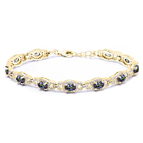 9.65 Ct Oval Green Mystic Topaz 18K Yellow Gold Plated Silver Bracelet