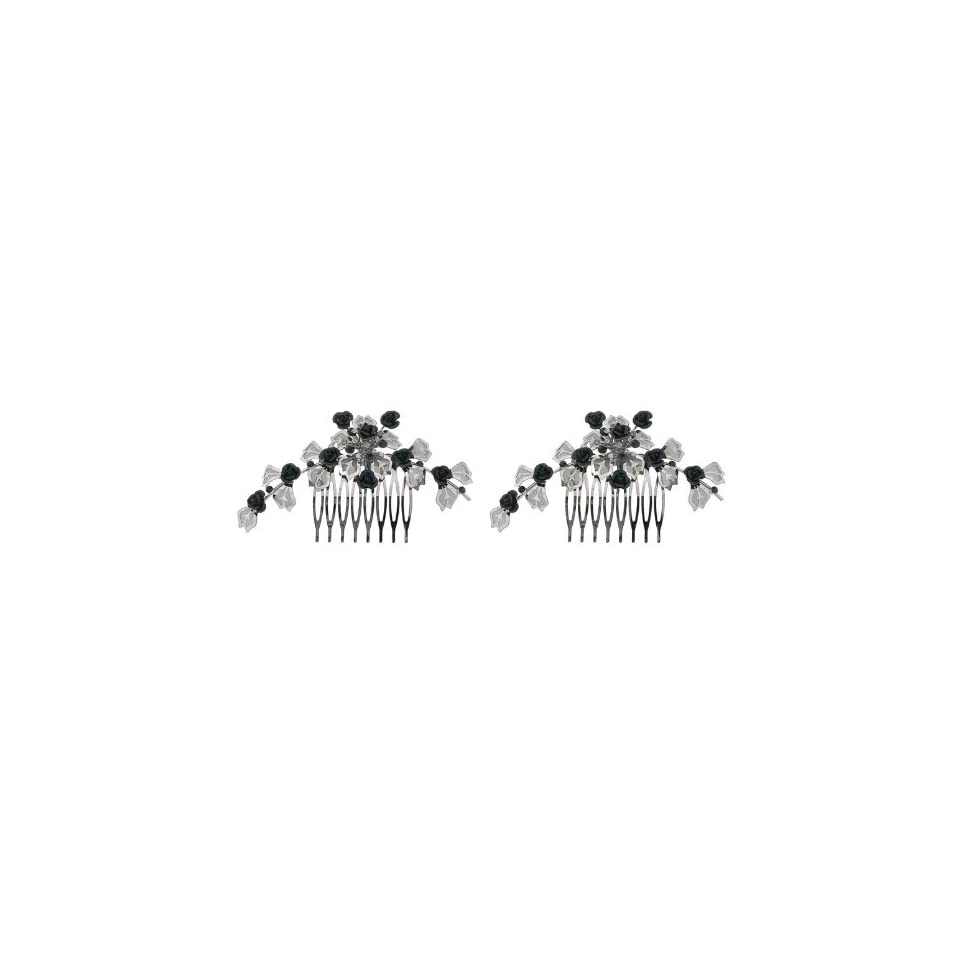 Fashion Hair Accessory ~ Black and Pewter Metal Flowers with Crystals Hair Comb Set of 2