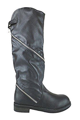 FRANCESCO MILANO AJ597 stivali pelle nero (38 EU)