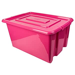 new whitefurze plastic stackable container pink small storage box with lid 14l. Black Bedroom Furniture Sets. Home Design Ideas