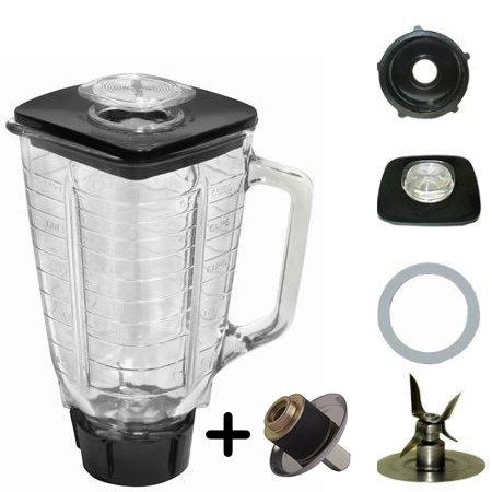 Blender Glass Jar Set With Coupling Kit pin Replacement 1.25 Liter - 5.5 Cup Square 7 Piece Oster Blender Part 7 Piece Complete Glass Blender Jar Replacement Kit , Compatible with Oster Blenders (Square Blender compare prices)