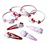 Hello Kitty Toddler Girls 4 Piece Hairties and Clips - 8 Piece