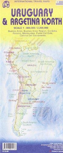 Argentinien Nord / Uruguay 1 : 2 200 000 / 1 : 800 000: Buenos Aires, Buenos Aires Region, Cordoba, Rosario, Montevideo, Punta Del Este, Colonia Del Sacramento