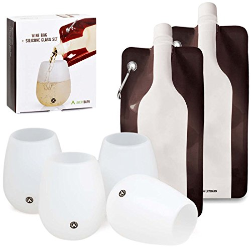 Avery Barn 6 pc Food Grade Silicone Unbreakable Wine Glasses + Foldable Plastic Bottle Bag