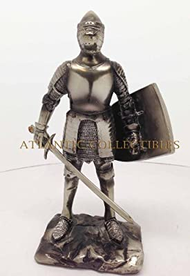 """Medieval Knight 7"""" Tall Sword Ground Infantry Statue Figurine Suit Of Armor"""