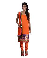 Mumtaz Sons Women's Cotton Unstitched Dress Material (MS111408C,Orange)