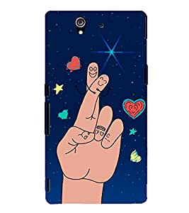 Cute Finger Drawing 3D Hard Polycarbonate Designer Back Case Cover for Sony Xperia Z :: Sony Xperia Z L36h