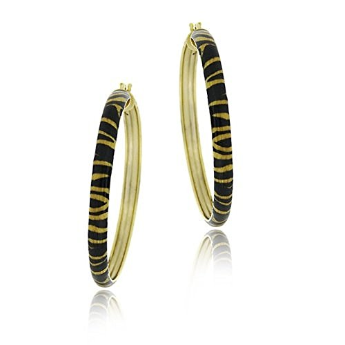 Boucles d'oreilles cerceaux d'argent fin doré à motif de tigre d'émail de 40mm