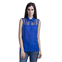 MansiCollections Women's Solid Casual Royal Blue Shirt (Medium)