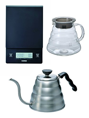 Hario V60 Series Set of Three: Scale, Glass Kettle & Metal Kettle All Sold Together (V60 Coffee Server Set compare prices)