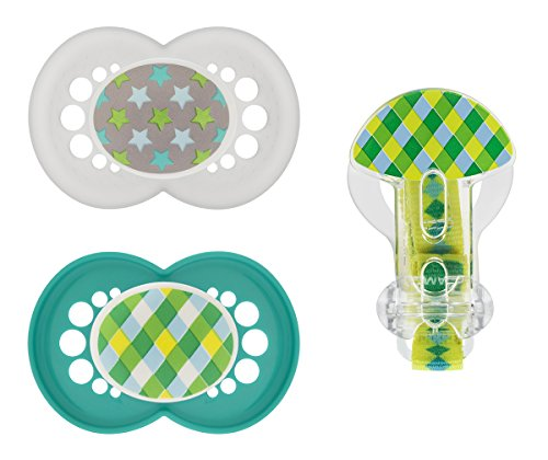 MAM Trends Silicone Pacifier with Clip, Boy, 6+ Months, 2-Count