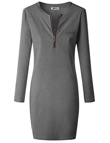 Doublju Womens Off Shoulder Longsleeve Casual Rib Cotton Knit Henley Dress Heathergray X-Large