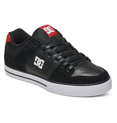 DC Men's Pure Skateboarding Shoe, Black/Athletic Red, 11 M US
