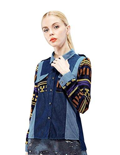 Elf Sack Womens Autumn Blouse Pop Pattern Piecing Denim Fabric Preppy Style Medium Size Blue