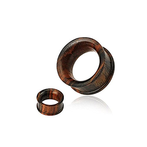 "{1/2""} Organic Sono Wood Concave Double Flat Flared Tunnel Plug (Sold Individually) - 1/2"""