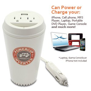 Powerline By Original Power 0900-66 200-Watt Coffee Cup Inverter with USB Charging Port and Two Outlets