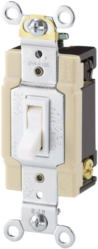 Cooper Wiring Devices 1242-7W-BOX 15-Amp 120-volt Standard Grade 4-Way Toggle Switch with Push and Side Wiring, Grounding, White Color