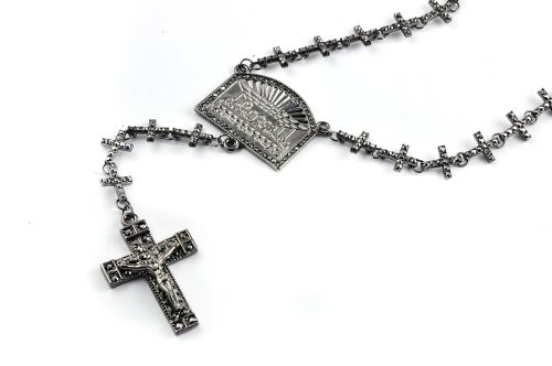 New! Iced Out Cross Linked Chain Rosary w/ The Last Supper & Paves Cross HEMATIT