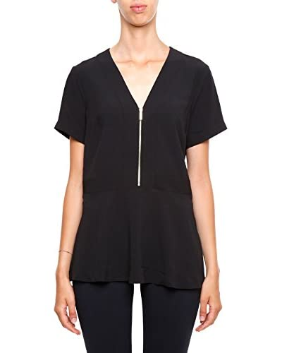 Michael Kors Top V-Neck Zip schwarz