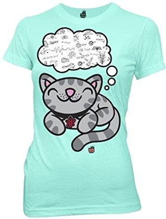 Big Bang Theory Soft Kitty Dreaming of Science Juniors Tee,Blue,Small