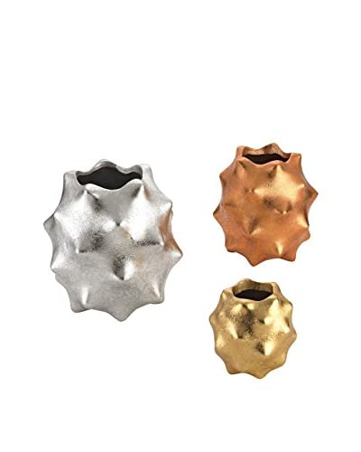 Artistic Set of 3 Spiky Metallic Vases, Copper/Silver/Gold Leaf
