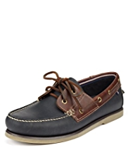 Blue Harbour Freshfeet™ Leather Lace Up Deck Shoes with Silver Technology