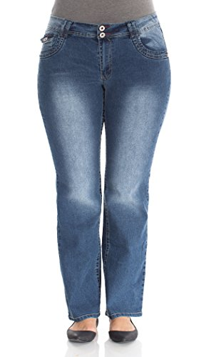 Angels Jeans Plus Size Double Button Short Inseam Bootcut Jeans in Albee 5T Size:20