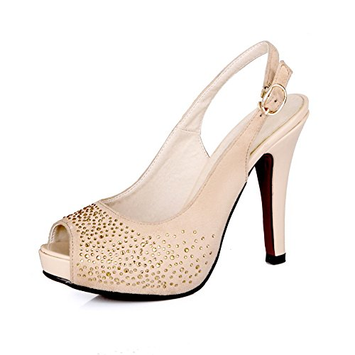 Vogue001 Womens Open Peep Toe High Heel Platform Suede Soft Material Solid Sandals With Glass Diamond, Apricot, 39