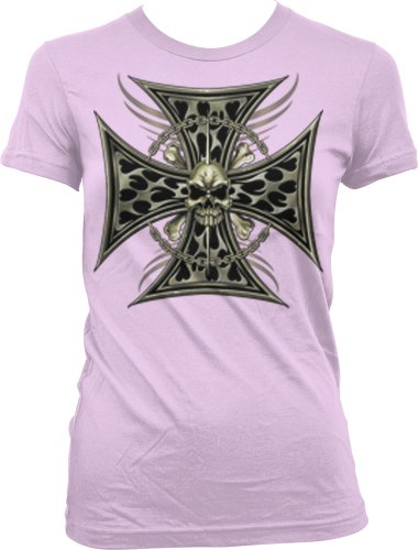 Iron Cross Skull Chain Ladies Junior Fit T-shirt, Chopper Motorcycle Iron Cross Skull And Crossbones Design Junior's Tee