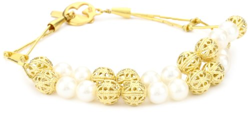 Gold Silk 2 Strand Filigree and Freshwater White Pearl Bracelet