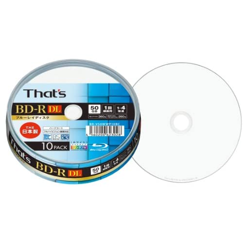 That's ブルーレイディスク BD-R DL ビデオ用 1-4倍速 360分 50GB 日本製 片面2層 ハードコート仕様 ワイドプリンタブル白  スピンドルケース10枚入 BR-V50WWP10BC