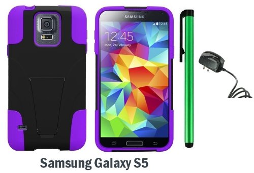 Samsung Galaxy S5 Premium Pretty T-Stand Design Protector Hard Cover Case (2014 March Released; Carrier: Verizon, At&T, T-Mobile, Sprint) + Travel (Wall) Charger + 1 Of New Assorted Color Metal Stylus Touch Screen Pen (Purple / Black) front-467255