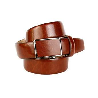 Anthoni Crown Mens Leather Classic Smooth Belt, Cognac, 36