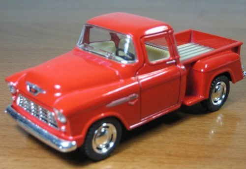 1/32 Scale 1955 Chevy Stepside Pick-up Truck Metal Diecast Model Collection Pull Back Action Kinsmart Red - 1